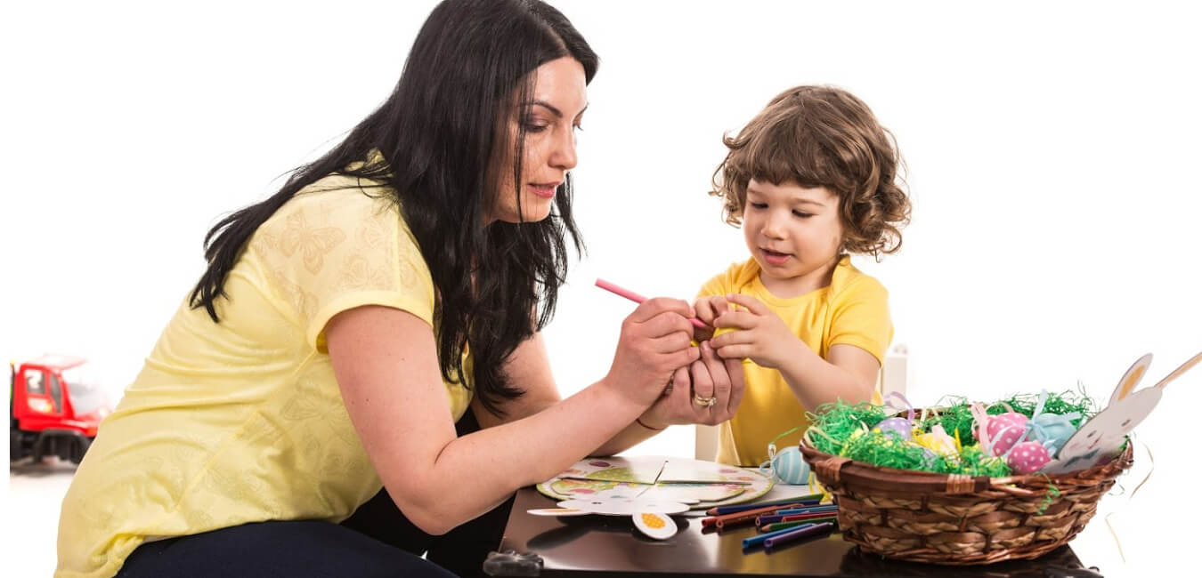 Mom and child doing Easter Crafts